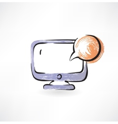 monitor and bubble speech grunge icon vector image