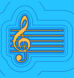 music violin clef sign g-clef  sand color vector image