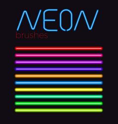 neon brush set vector image