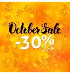 October sale poster blurred background vector