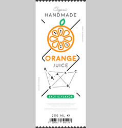 orange juice label in trendy linear style vector image vector image