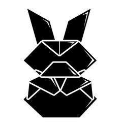 origami bunny icon simple black style vector image