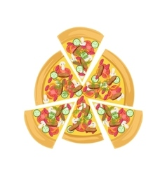 Pizza with meat and vegetables vector