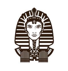Portrait of pharaoh africa egypt egyptian logo vector