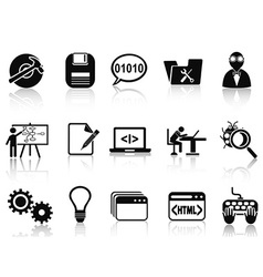 program development icons set vector image