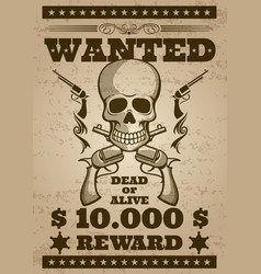 Retro wanted poster in wild west thematic vector