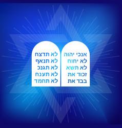 Rock of ten commandments with hebrew alphabet vector