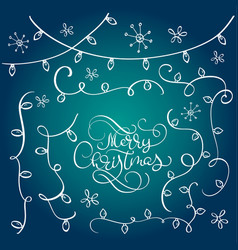 set of vintage flourish doodle garlands christmas vector image