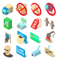 shop navigation foods icons set isometric style vector image