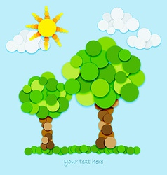 Trees and sun in color circles vector