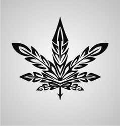 Tribal marijuana leaf vector