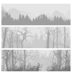 Wild forest horizontal banners vector image vector image