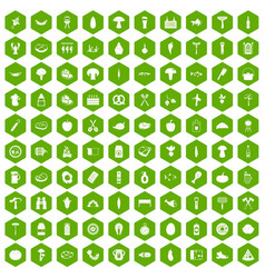 100 barbecue icons hexagon green vector
