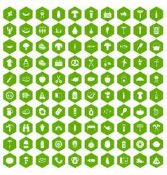 100 barbecue icons hexagon green vector image vector image