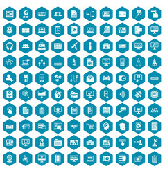 100 database icons sapphirine violet vector image vector image