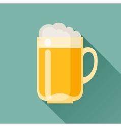 beer mug in flat design style vector image