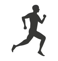 Silhouette athlete running isolated icon vector