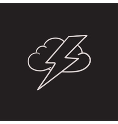 Cloud and lightning bolt sketch icon vector
