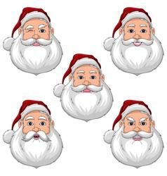 Santa Claus Various Expressions Face Front View vector image