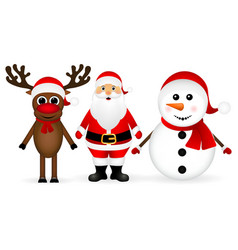 Santa claus with reindeer and a snowman vector