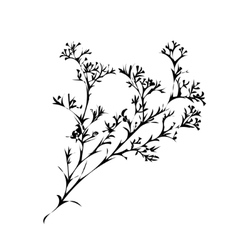 Branch of beautiful hand-drawn silhouette vector
