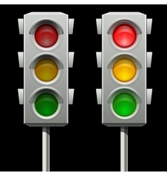 Traffic lights in two modes vector