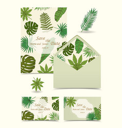 Floral tropical wedding set with isolated palm vector