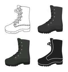 combat boot icon in cartoon style isolated on vector image