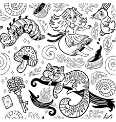 Fairytale ink background with cartoon characters vector