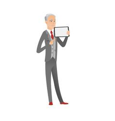 Caucasian businessman holding tablet computer vector