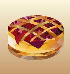 Cake with jam polygon vector