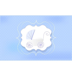 Baby boy blue stroller for newborn vector