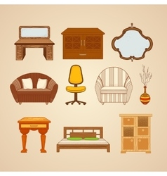 Set of ten of home furnishings vector
