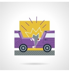 Flat color icon for car crash vector