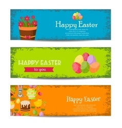 Happy easter banners set with colorful eggs vector