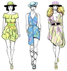 set fashion top models in summer dresses vector image