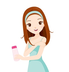Girl Holding Packaging And Scrubbing On Skin vector image