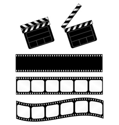movie clapper with 3 film strips vector image