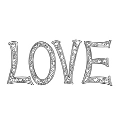 Hand drawn monochrome text love isolated on white vector