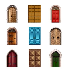 Old doors icons set vector