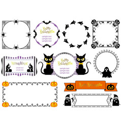 a happy halloween frame set vector image vector image
