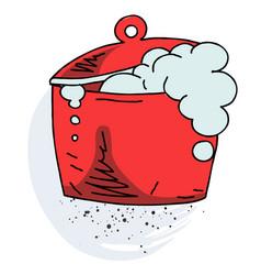 boiling pan cartoon hand drawn image vector image