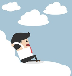 Businessman relaxing on a cloud vector