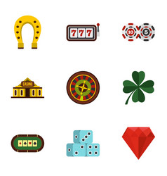 casino elements icons set flat style vector image vector image