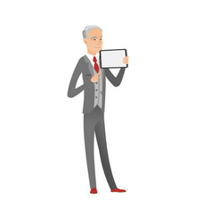 Caucasian businessman holding tablet computer vector