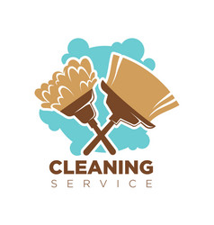cleaning service isolated logotype with broom and vector image
