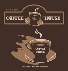 Coffee House design with cup and saucer vector image