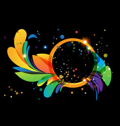 colorful abstract decoration with circle frame on vector image vector image