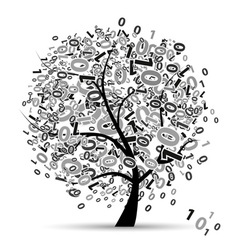 Digital tree silhouette numbers vector image
