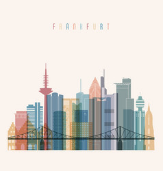 Frankfurt skyline detailed silhouette vector